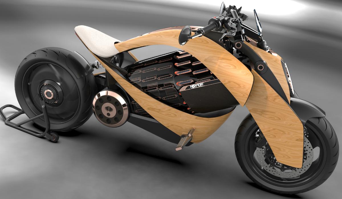 Newron apresenta moto com exterior em madeira