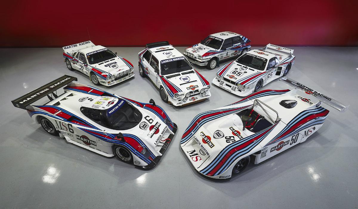 Descubra a coleção incrível com míticos carros da Lancia com as cores da Martini
