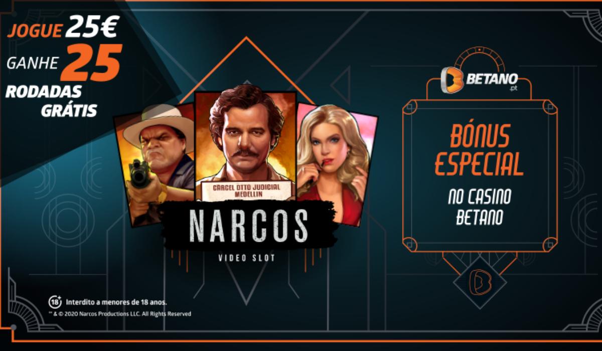A Betano tem um Bónus Especial de Casino dedicado à slot Narcos