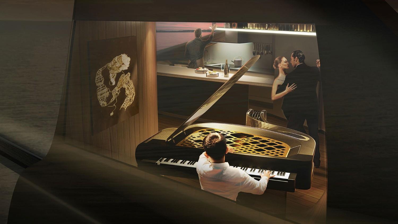 Catamaran em forma de piano mostra que design não tem limites