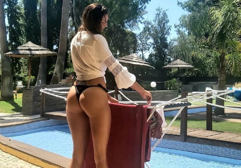 Joana Alvarenga imita Georgina Rodríguez e mostra rabo a estender roupa
